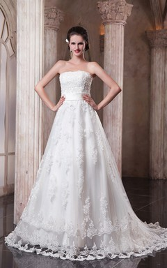 A-Line Strapless Refined Dress With Laces And Soft Tulle