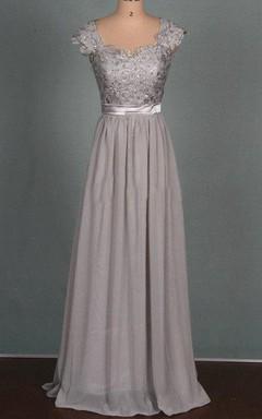 Floor-length Chiffon&Lace&Satin Dress With Beading