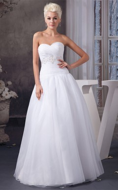 Sweetheart Tulle Ball Gown with Beading and Criss-Cross Ruching