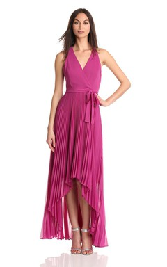 Sleeveless V-neck High-low Chiffon Dress With Bow