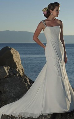Sheath/Column One Shoulder Chiffon Wedding Dress
