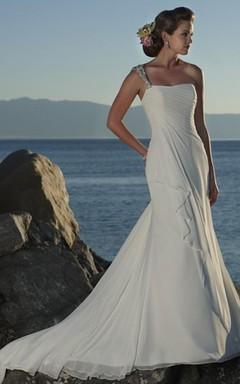 Sheath Column One Shoulder Chiffon Wedding Dress