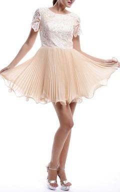 Mini Short Sleeve Chiffon&Lace Dress