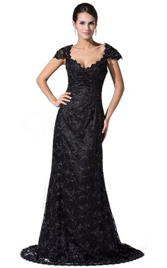 Cap-sleeved V-neck Lace Dress With Beadings