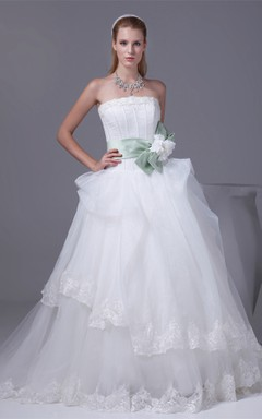 Strapless Tulle Ball Gown with Bowknot and Appliques