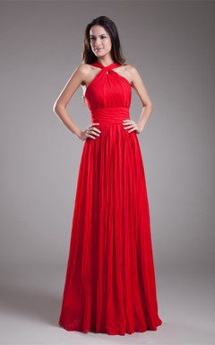 sleeveless a-line maxi ruched dress with zipper back and pleats
