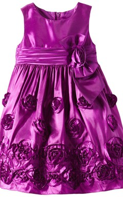 Cap-sleeved Taffeta Dress With Floral Details