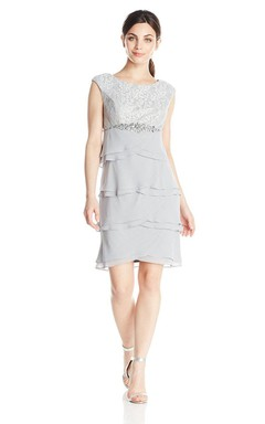 Cap-sleeved Short Tiered Dress With Lace Detail