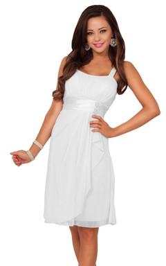 Sleeveless Long Layered Chiffon Dress With Satin Sash