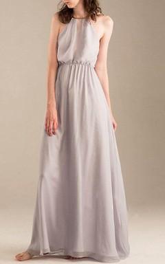 Floor-length Halter Backless Chiffon Dress