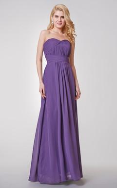 Backless A-line Long Chiffon Dress With Small Pleats