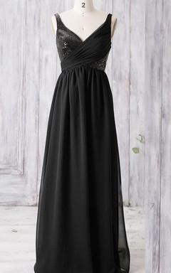 Floor-length V-neck Chiffon Dress With Sequins&Keyhole Back