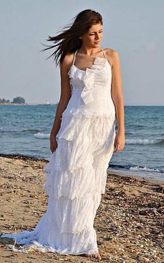 Beach Spaghetti Boho Style Lace Tiered Wedding Dress With Sweep Train