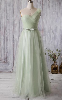 A-line Floor-length One-shoulder Tulle&Satin Dress