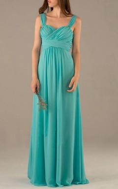 Strapped Sweetheart Chiffon Dress With Pleats