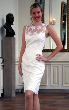 Bateau Neck Sleeveless Satin and Lace Sheath Wedding Dress