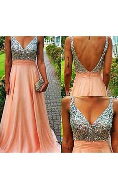 Glamorous V-neck Sleeveless Chiffon Prom Dress With Crystals