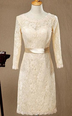 2016 Champagne Lace Bridesmaid Lace Wedding Party Formal Short Sleeves Elegant Dress