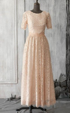 Scoop Neck Open Back Lace Formal Dress