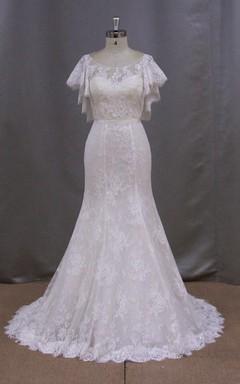 Bateau Neck Lace Mermaid Wedding Dress With Cape