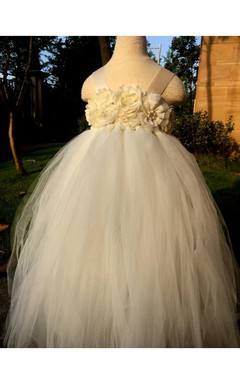 Ivory Handmade Flower Bodice A-line Floor Length Girl Tulle Dress