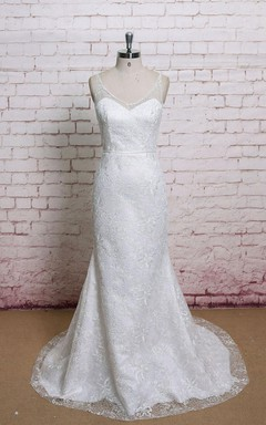 V-Neck Sleeveless Full Lace Mermaid Wedding Dress