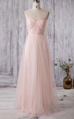 A-line Long Sweetheart Tulle Dress