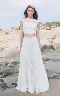 Jewel-Neck Cap-Sleeve Lace Chiffon Two-Piece Wedding Dress
