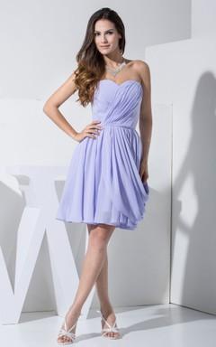 Sweetheart Chiffon Short Dress With Ruching