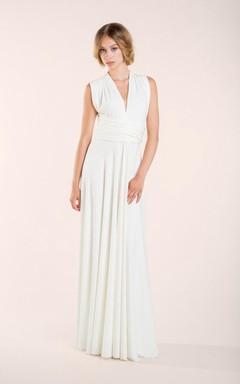 V-Neck Sleeveless Sheath Chiffon Wedding Dress With Ruching And Straps Back