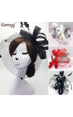 European And American Linen Black Mesh Yarn Velvet Veil Bowknot Hair Band Bride Red Hair Ornaments
