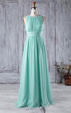 A-line Floor-length Scoop Chiffon Dress