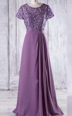 A-line Floor-length Sweetheart Cap Sleeve Chiffon&Lace Dress With Illusion
