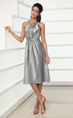 Adorable Satin Midi Dress With Bow And Draping