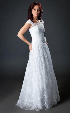 A-Line Cap Sleeve Lace Weddig Dress With Illusion