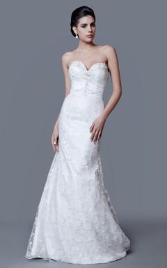 Romantic Sweetheart Beaded Long Sheath Dress
