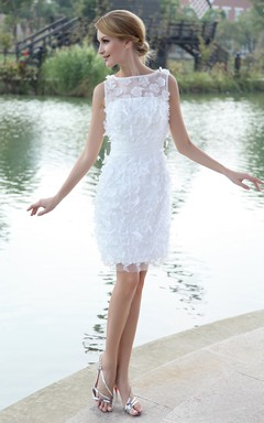 Stylish Bateau-Neck Organza Bodycon Gown With Flowers