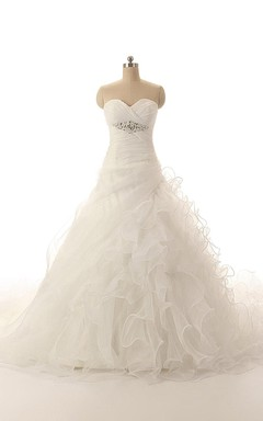 Modern Sweetheart Ball Gown With Ruffles and Crisscross Ruching