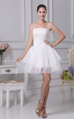 Strapless Short A-Line Dress with Appliques and Tulle Overlay