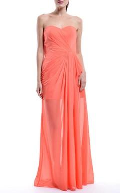 Floor-length Sweetheart Chiffon Dress