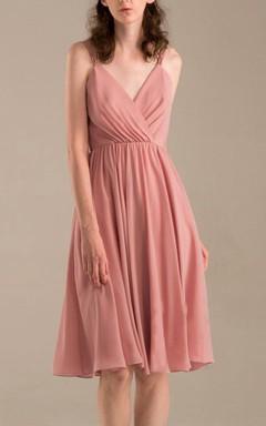 Short Knee-length V-neck Backless Chiffon Dress