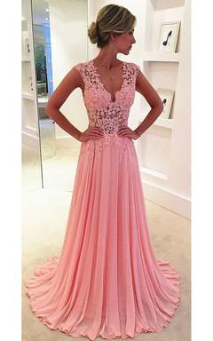 Beautiful Pink Sleeveless Lace Appliques Prom Dresses 2016 Long Chiffon