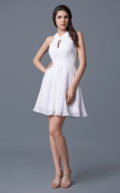 Sleeveless Ruched Short Chiffon Dress