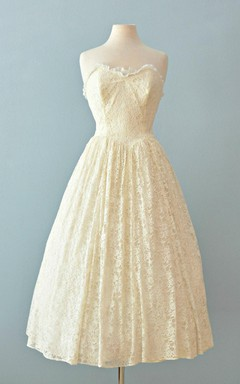 Sweetheart A-Line Lace Ballerina Length Wedding Dress With Pleats
