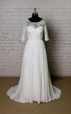 Scoop Neck Half Sleeve A-Line Chiffon Wedding Dress With Lace Bodice