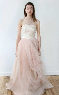 Strapless Tulle Pick Up A-Line Dress With Embroidered Top
