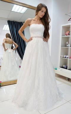 Strapless A-Line Lace Wedding Dress With Beading on Waist