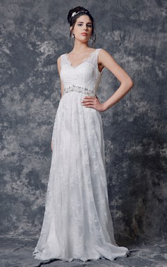 Sleeveless V-neck Pleated Long Lace Dress With Beaded Belt