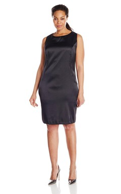 Simple Sleeveless Knee-length Satin Dress