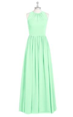 Sleeveless Chiffon A-Line Dress With Pleated Skirt and Jewel Neck